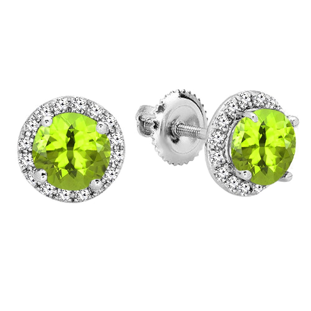 14K White Gold Round Green Peridot & White Diamond Ladies Halo Style Stud Earrings by DazzlingRock Collection