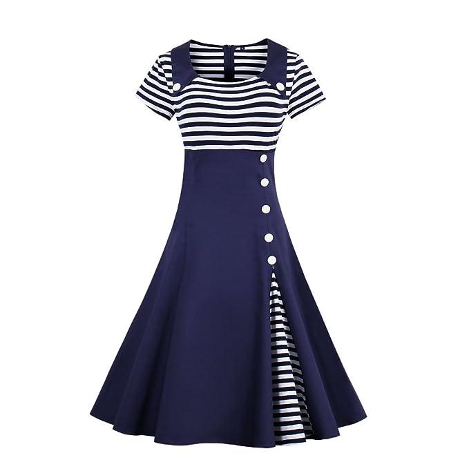 KeKeD23921 Otoño Vintage Dress Blanco y Negro a Rayas de Manga Corta Patchwork 1950 Vestido Hepburn