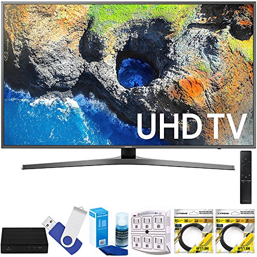 Samsung UN40MU7000 40'' UHD 4K HDR LED Smart HDTV Black (2017 Model) Plus Terk Cut-the-Cord HD Digital TV Tuner and Recorder 16GB Hook-Up Bundle by Samsung