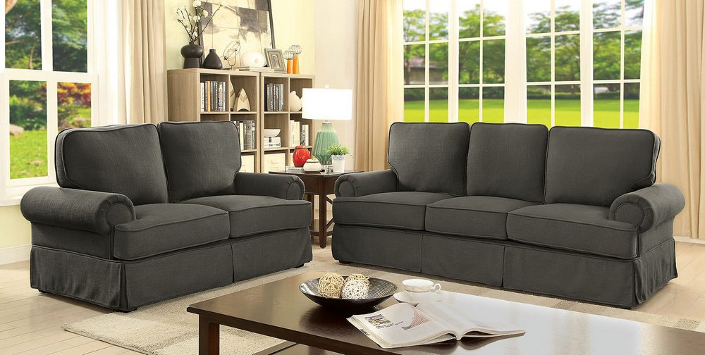 Amazon.com: Badalona I Gray Linen-like Fabric Loveseat by ...
