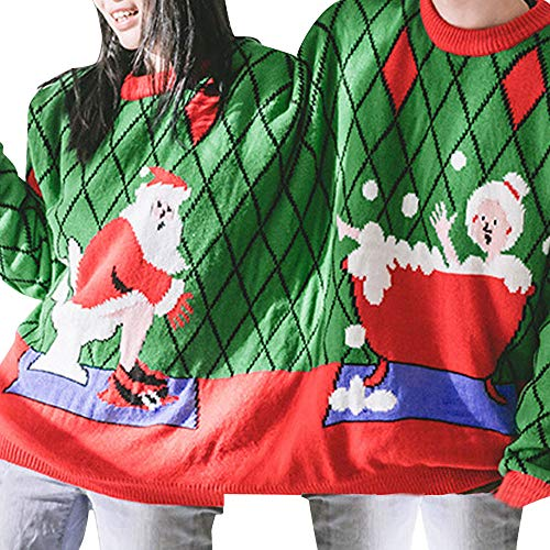 Franterd Unisex Two Person Sweater Novelty Christmas Women Men Couples Pullover Xmas Vulgar Ugly Christmas Sweater -