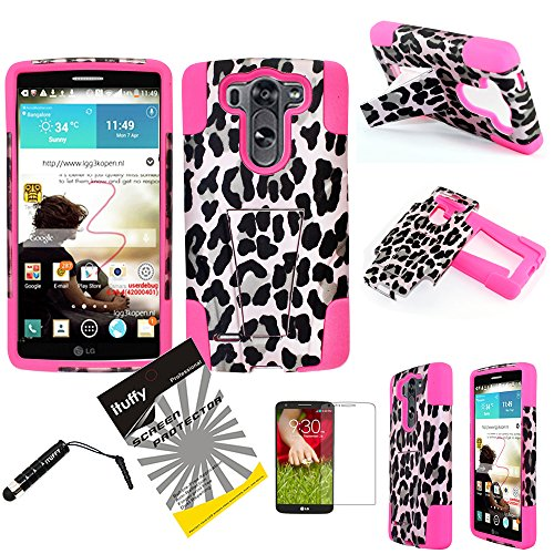 For LG G3 D855 / ITUFFY(TM) 2items Combo: Stylus Pen + [Dual Layer] [Impact Resistance] [KickStand] Hybrid Armor Case (Pink Leopard - Hot Pink)