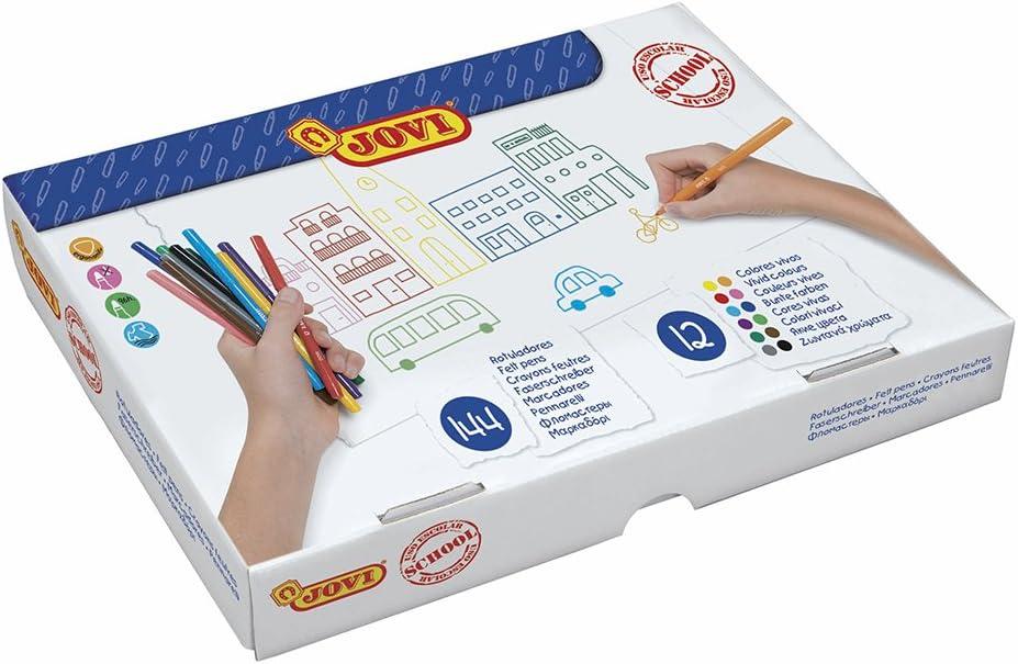 Jovi - Caja económica, 144 lápices rotuladores, colores surtidos (1699): Amazon.es: Juguetes y juegos