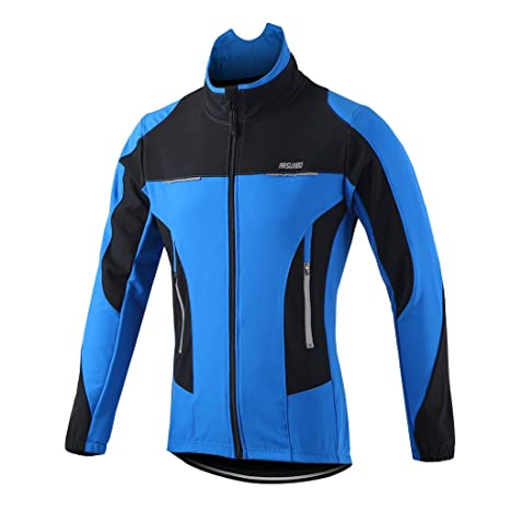 8ed6f497c ARSUXEO Winter Warm UP Thermal Fleece Cycling Jacket Windproof 15F Blue  Size Small