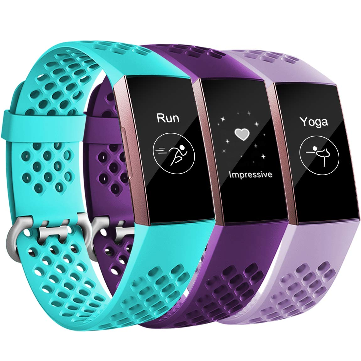 Maledan Bands Compatible with Fitbit Charge 3 and Charge 4, Breathable Sport Band Replacement Wristbands with Air Holes for Charge 4/ Charge 3/ Charge 3 SE Fitness Tracker Women Men, 3-Pack