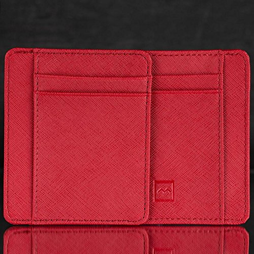 Card Holder Safe RFID By Stylish Space Premium Minimalist Design amp; Material Slots Leather PU amp; 7 Cards Cash Slim Brown amp; Smooth Credit Smart Wallet Leather Mercor Saving Rugged Blocking Red For rrxqwdY