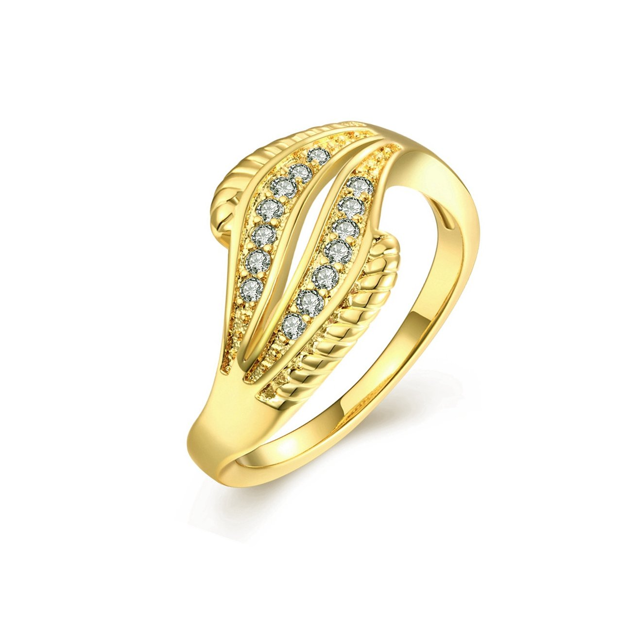 18K Gold Plated Wave Ring Wedding Band Statement Jewelry Simulated Diamond Infinity Love