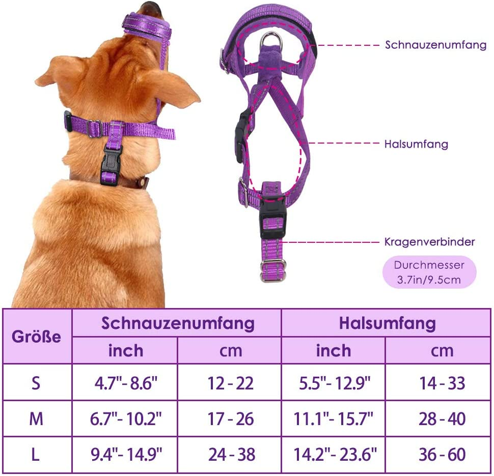 verstellbare Schlaufe schnelle Passform f/ür kleine weiche Flanellauflage SlowTon Hundemaulkorb aus Nylon mittelgro/ße Hunde sichere atmungsaktive Bequeme