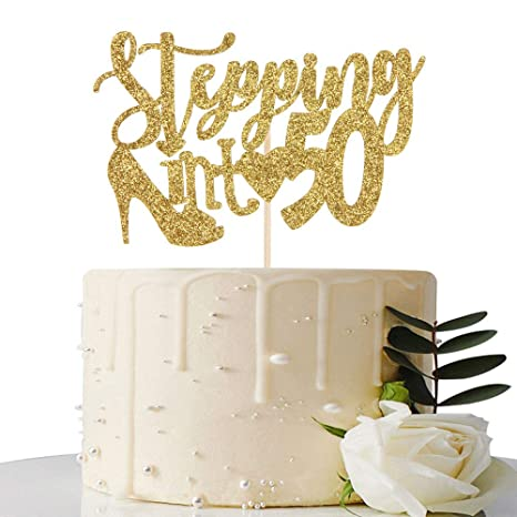High Heel 50 & Fabulous Silver and Gold Rhinestone Birthday Cake Topper Fifty Birthday Cake Topper Premium Sparkly Crystal Rhinestone Bday Party