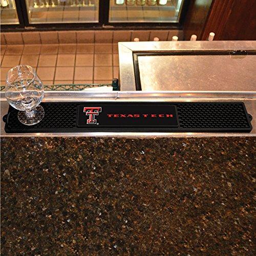 Fanmats Sports Team Logo Design Texas Tech University Rubber Non Spill Safe Serving Bar Kitchen Drink Mat 3.25x24