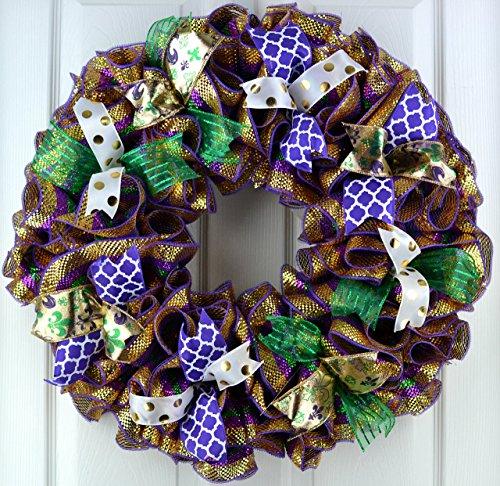 Mardi Gras Wreath Fat Tuesday Mesh Door Wreath; purple emerald green gold