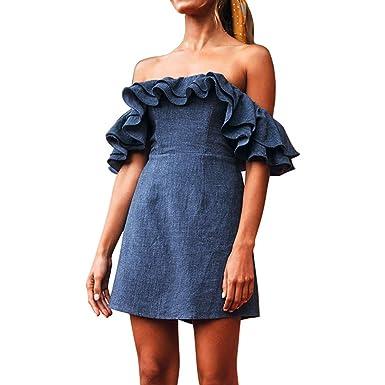 94dfd0a0dd7d9 abcnature Women s Dresses Fashion Plus Size Dress Sexy Solid Off Shoulder  Dress Ruffles Loose Dress Denim Blue Dress at Amazon Women s Clothing store