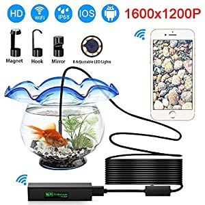 Tryace Wifi Endoscope Camera,Waterproof IP68 Borescope Inspection Camera With 8mm lens ,5M Cable And 2.0MP 1200P HD Wireless Endoscope Snake Camera For ISO and Android, iPhone, Samsung, Tablet(16.5FT)