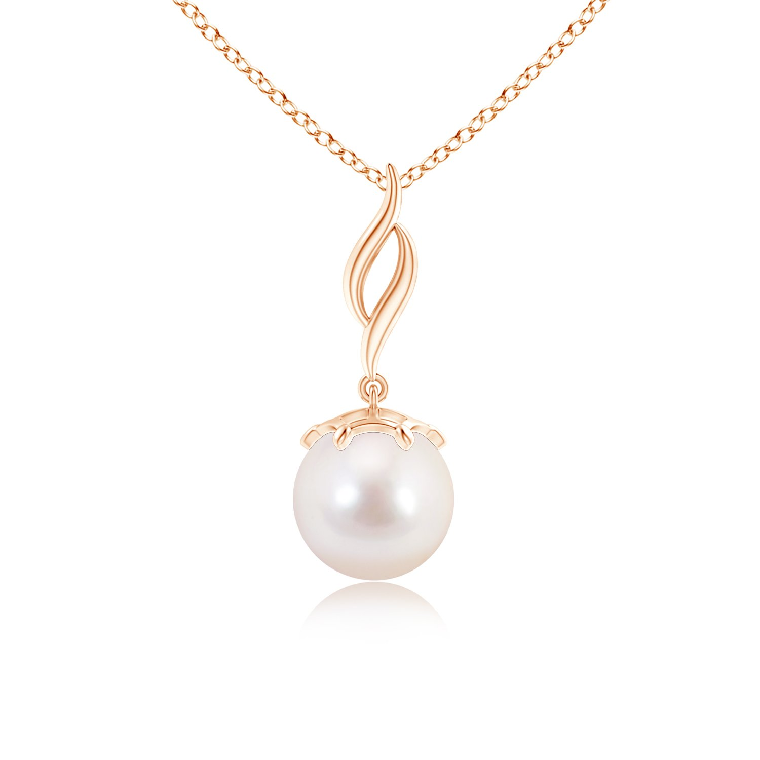Angara Solitaire Akoya Cultured Pearl Flame Drop Pendant