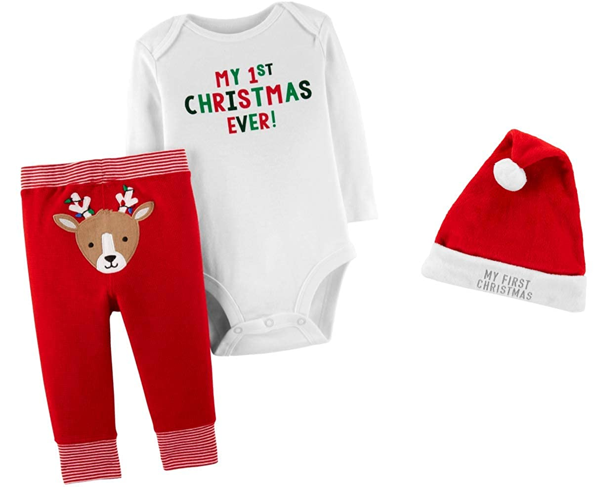 26790a4a84d Amazon.com  Carter s My First Christmas Bodysuit and Pant Outfits with Santa  Hat