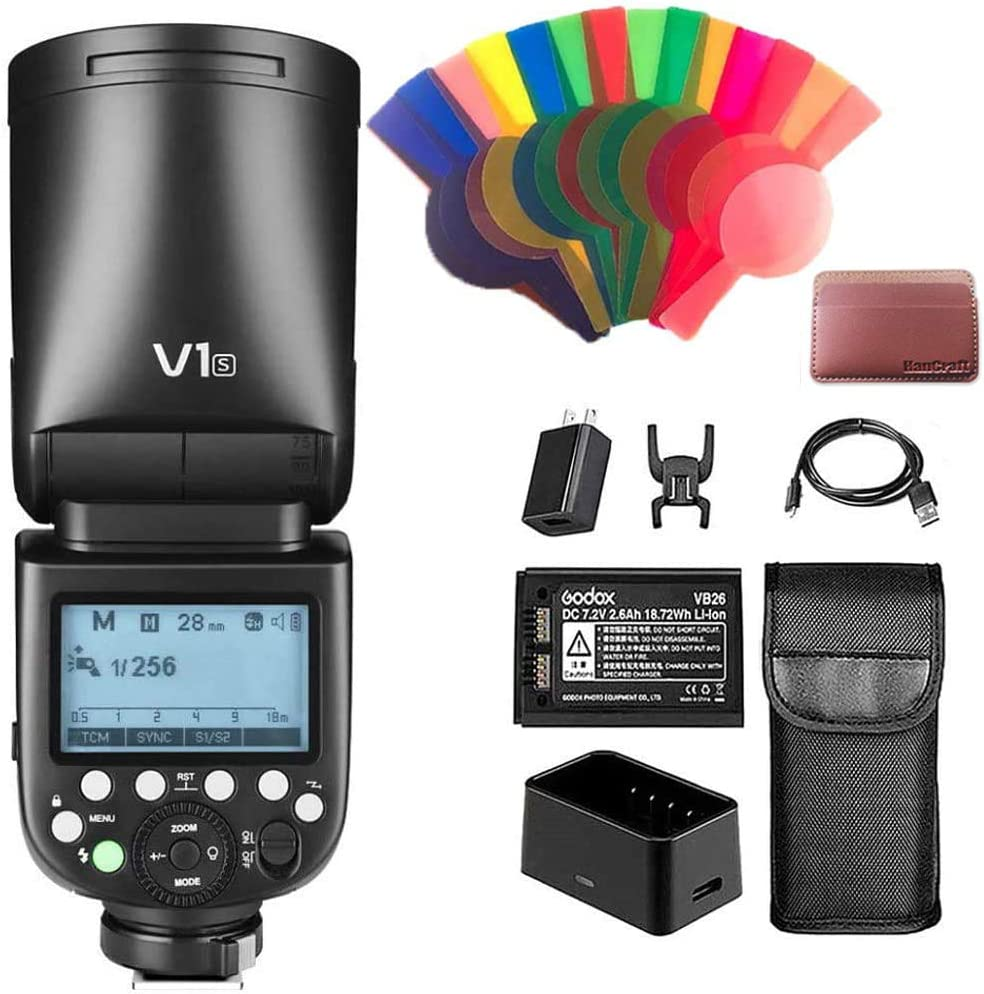 Godox V1-S TTL on-Camera Round Head Camera Flash with 2.4G Wireless System and Full TTL Function, Compatible with Sony Cameras