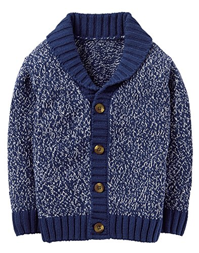 Crazy 8 Baby Boys Long Sleeve Button up Shawl Cardigan, Heather Navy, 6-12 MO (Sweater Cardigan Infant)