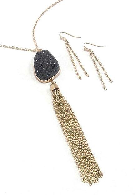 Druzy Stone Metal Tassel Necklace Set