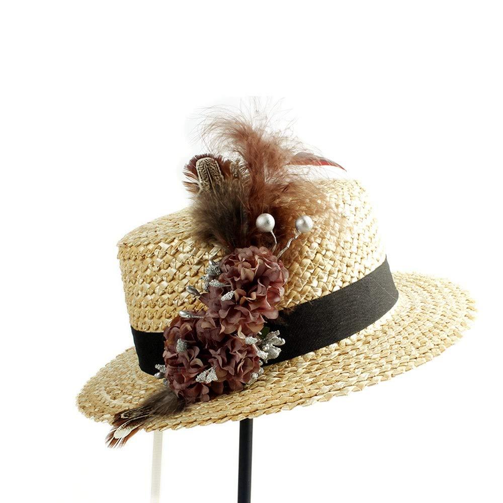 YUXUJ Sun Hat Stalk Woman Beach Flower Feather Fashion Sunscreen Beach Sun Cap Ladies Categorical Hat Color : 1, Size : 56-58CM