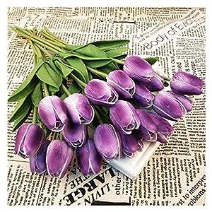 Silk Flower Arrangements SHINE-CO LIGHTING PU Real Touch Fake Tulips Artificial Flowers 10 Pcs Flower Arrangement Bouquet for Home Office Wedding Decoration (Purple)