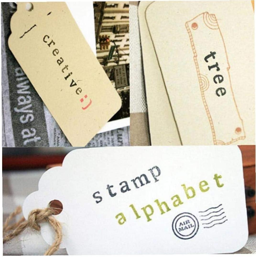 AMOYER Lettre Vintage Alphabet Bois Tampons avec Bo/îte en Bois