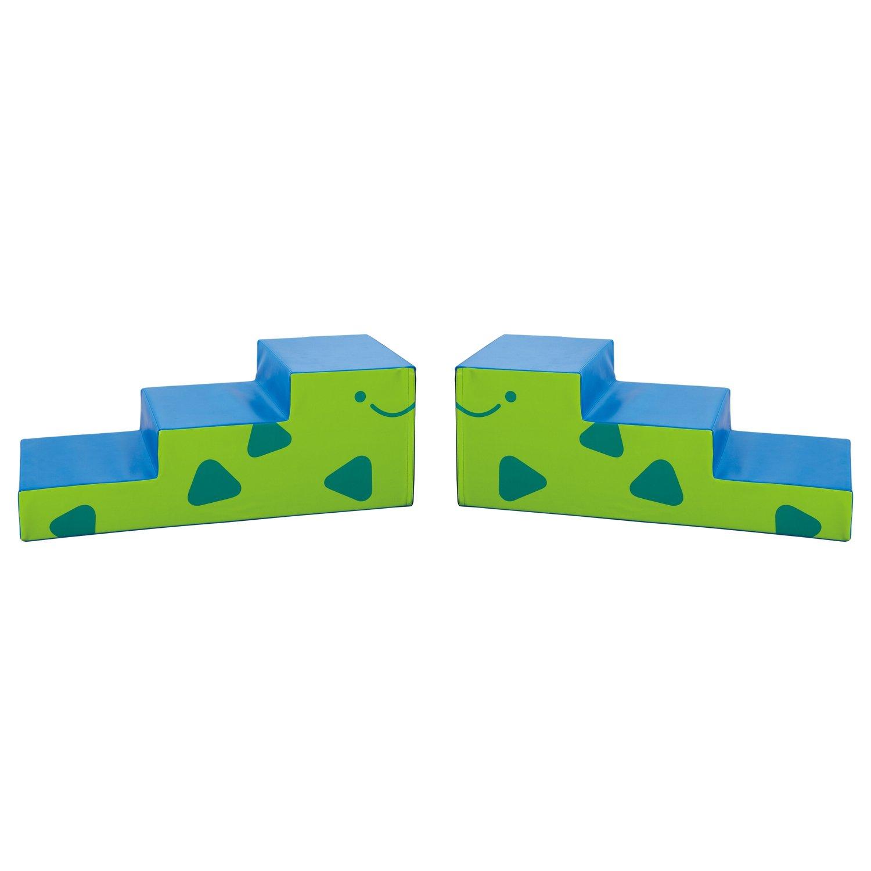 Weplay KM2308 Dinosaurier Tierblock Dino Elemente Treppenform, blau grün (2er Pack)