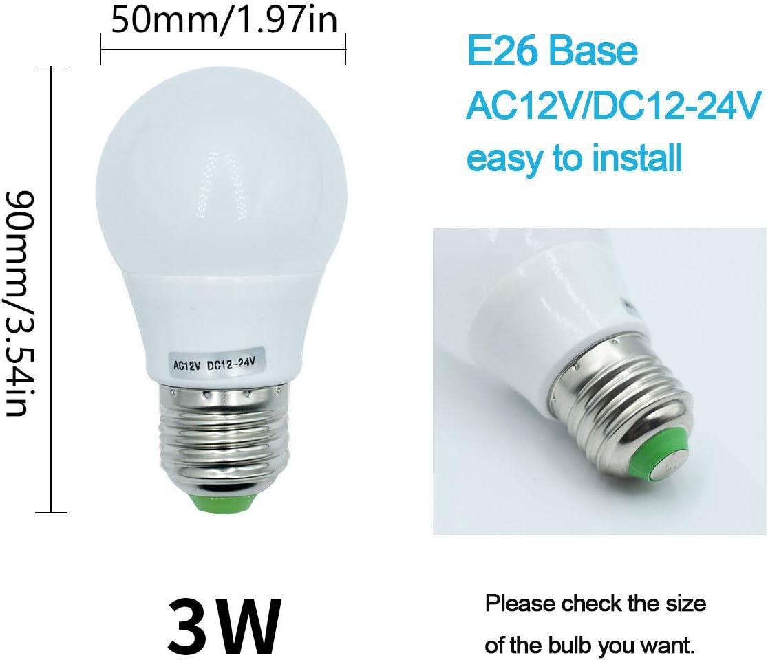 40 Watt Equivalent 12V Low Voltage Lamp for Off Grid Solar System Lighting Marine Boat RV Interior Lighting Camper Warm White 3000K-Pack of 6 3W A15 Edison LED Light Bulbs E26 Medium Screw Base