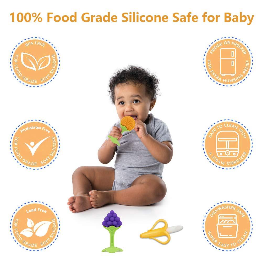 Baby Teething Toys 5Pcs BPA Free Teething Toys Set Teethers for Babies 0-6 Months Freezer Safe Silicone Teethers Baby Gift Teething Toys for 6-12 Months Newborn Boy /& Girls
