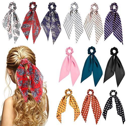 Sunaction 12 Pcs Hair Scarf Scrunchies Satin Silk Hair Scarves Scarf Hair Ties, Scrunchy Hair Ties for Woman Girls