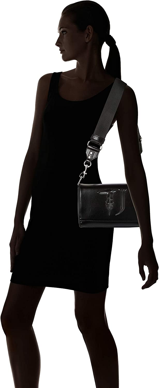 Trussardi Jeans T-Easy Cacciatora Monocolor, Borsa a Tracolla Donna, 24x16x8 cm (W x H x L) Nero (Black On Tone)