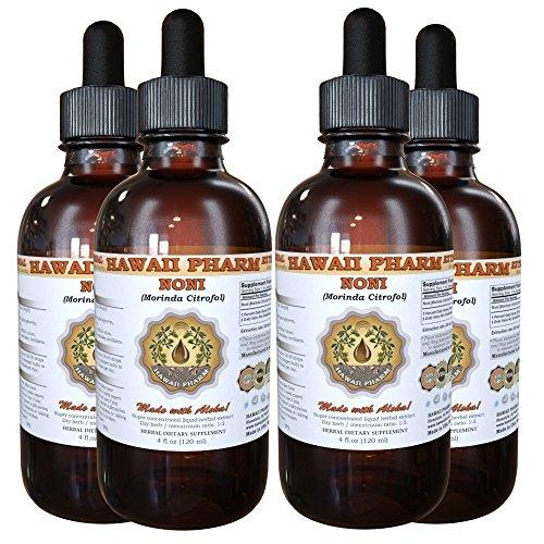 Noni Liquid Extract, Organic Noni (Morinda citrifolia) Tincture, Herbal Supplement, Hawaii Pharm, Made in USA, 4x4 fl.oz by HawaiiPharm