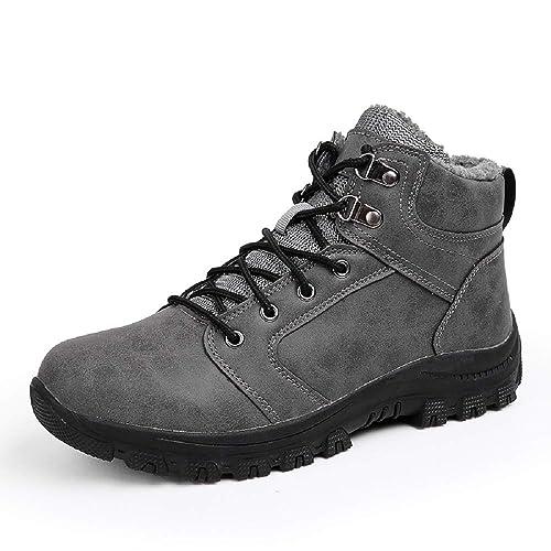 569965eca69 Basket Montante Homme Hiver Fourrure Bottine Neige Randonnée Cuir Chaudes  Sneakers Trekking Cheville Lacet Bottes Chaussures