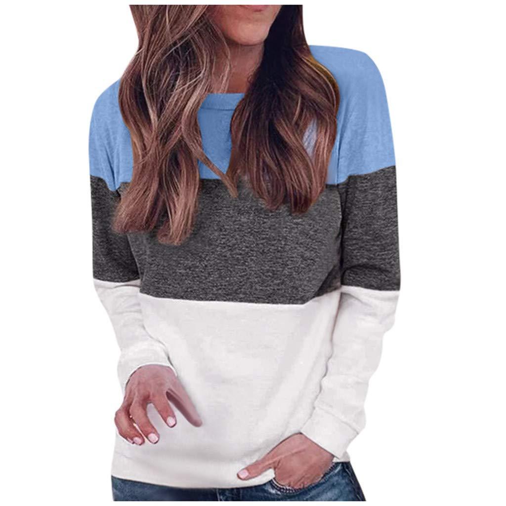Lataw Womens Tops Autumn Long Sleeve Round Collar Patchwork Print Cute Hoodie Sweatshirt Tunics Blouse T Shirts