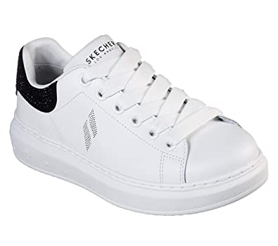 44f27a667be1 Skechers Street High Street Shimmer As You Go Womens Sneakers White Black  7.5
