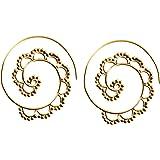 81stgeneration Boucles d'oreilles de Femme en laiton couleur or spirale ethniques tribales
