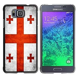 Paccase / SLIM PC / Aliminium Casa Carcasa Funda Case Cover - National Flag Nation Country Georgia - Samsung GALAXY ALPHA G850