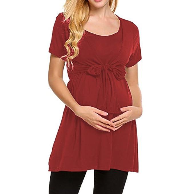 Juleya Ropa de Maternidad Embarazada Nursing Tops Camiseta de Manga Corta con Ola de Lactancia Materna