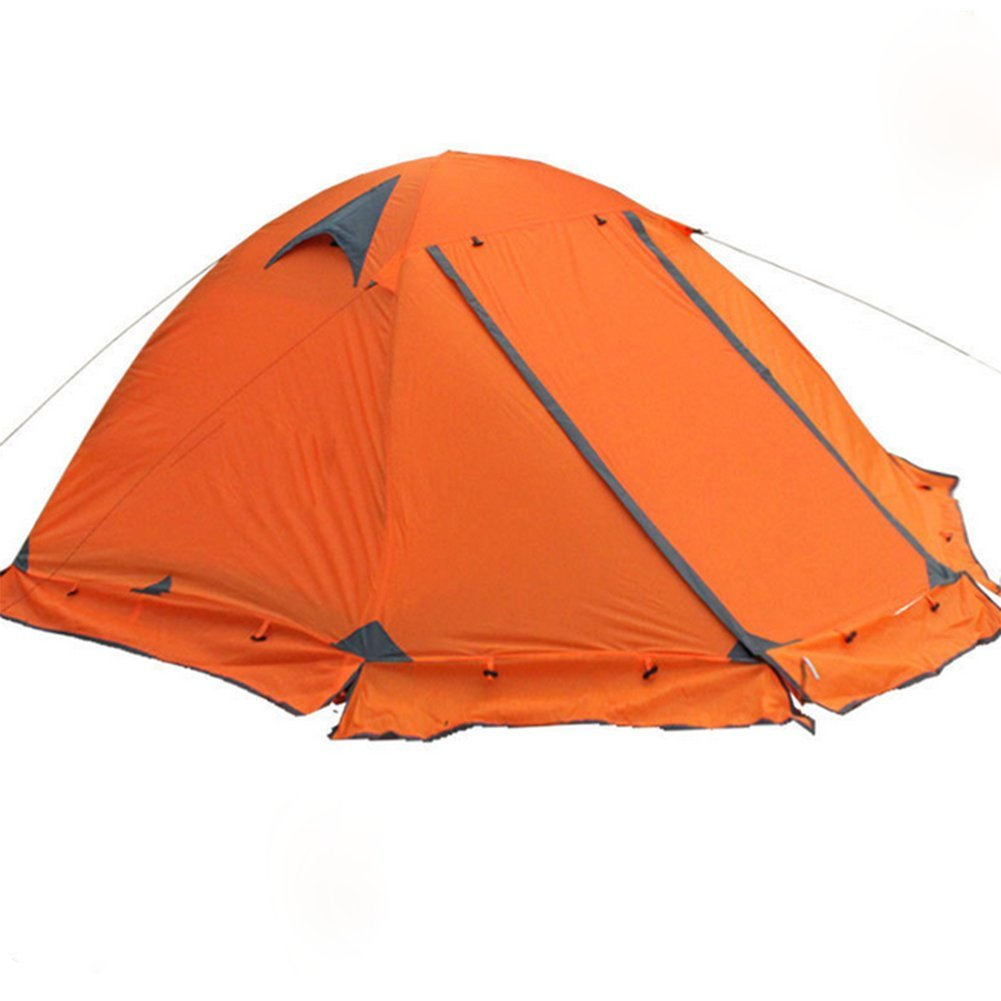 Fptcustom Outdoor-Camping Zelt, Orange Zelt Doppelte Sturm Schutz Touristische Zelt