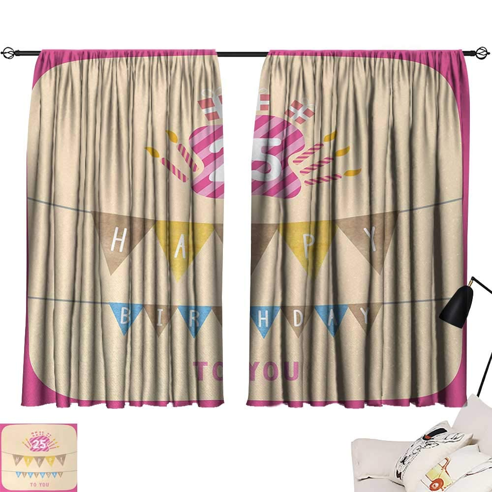 Jinguizi 25th Birthday Curtain Backdrop Pink Framework Cute Flags Letters Burning Candlesticks Gifts Colorful Print Household Darkening Curtains Multicolor W55 x L39 by Jinguizi (Image #1)