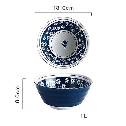 buen tazón 7 pulgadas vajilla de cerámica Ensaladera azul japonesa Flor de cubiertos para la cocina