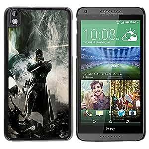 Caucho caso de Shell duro de la cubierta de accesorios de protección BY RAYDREAMMM - HTC DESIRE 816 - Guerrero oscuro