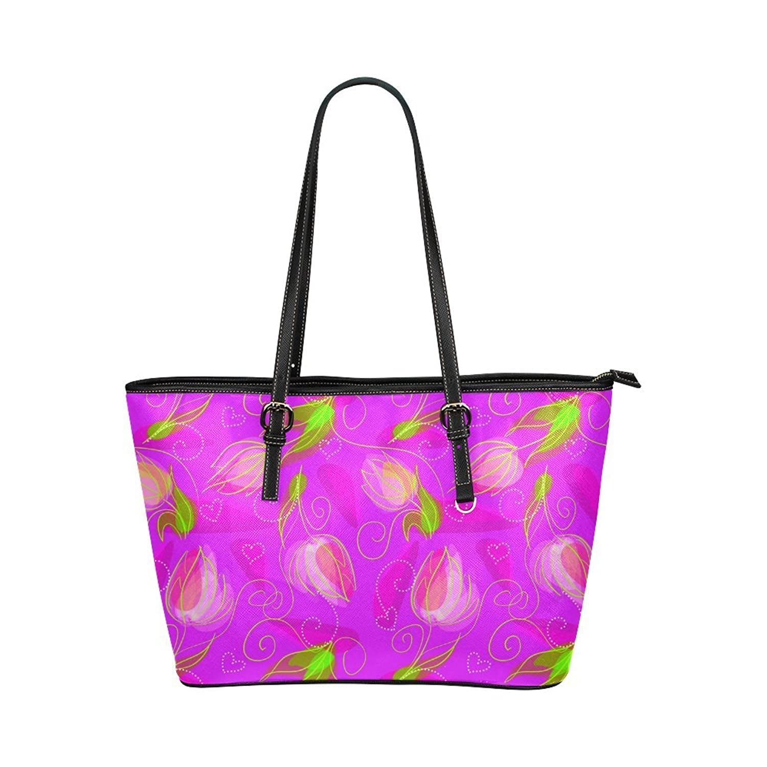 Interestprint Custom Shoulder Bag Hearts Flowers Cute Modern Floral Art Leather Tote Bag Large
