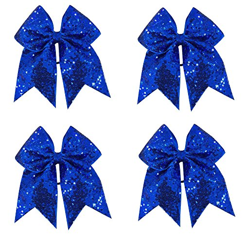 CN Sequin Cheerleader Bow Big School Color Hair Bow With Elastic Tie For Cheerleading Girls (Bows Gold Cheer And Blue)