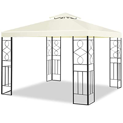 Tangkula Patio Gazebo 10 ft x 10 ft, 2 Tier Soft Top Canopy and Steel Frame, Provide 100 Square Feet Shade for Outdoor Patio Backyard and Garden, Outdoor Gazebo Tent Beige : Garden & Outdoor