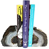 Natural Agate Bookend Pair - 1 to 3 lb - Geode Bookend with Rock Paradise Exclusive COA