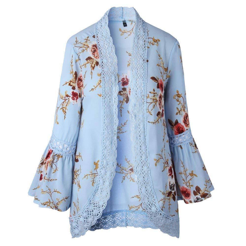 Qiusa Señoras Encaje Floral Capa Abierta Abrigo Informal Suelta Blusa Kimono Chaqueta Cardigan (Color : Cielo Azul, tamaño : CN XLUK 18): Amazon.es: Hogar