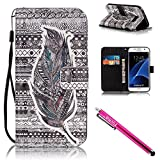 Galaxy S7 Case, Firefish [Card Slots] [Kickstand] Flip Folio Wallet Case Synthetic Leather Shell Scratch Resistant Protective Cover for Samsung Galaxy S7-Feather