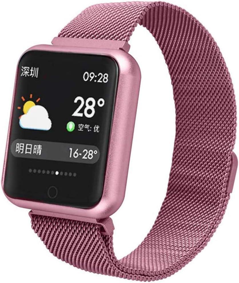 H&J Smart Watch Reloj Inteligente para iOS Android Fitness Tracker Rastreador De Actividad Monitor De Ritmo Cardíaco Monitor De Sueño Brazalete Inteligente IP68 Waterproof Hombres Mujeres,Rosado