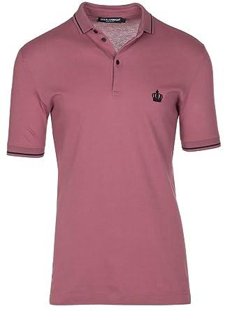 8821f4b51 Dolce & Gabbana Men's Pink Crown 'Corona' Short Sleeve Polo Shirt, Pink,