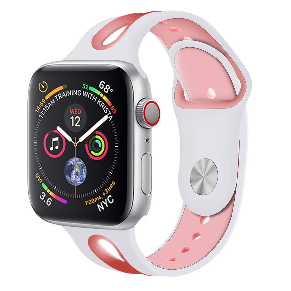 CSSD Cool Silicone Bracelet Watch Bands Wrist Straps for Apple Watch Series 4 40mm (A, S)